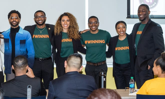"Detroit-based entertainer Sean ""Big Sean"" Anderson, far left, with Florida A&M University student winners, Emmanuel Dawson, Nalani Kelly-Marsh, Earl Perry, Livi Grant and Keishon Smith,. The team placed first an entrepreneurship competition March 31, 2019 in Detroit."