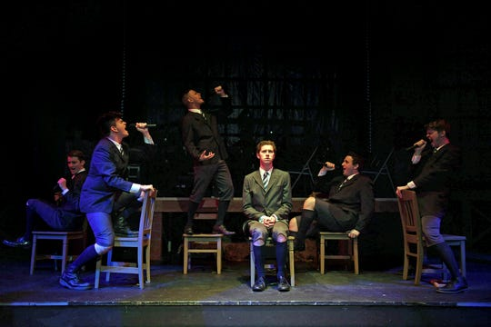 "The boys of ""Spring Awakening"" express their sexual frustrations. Left to right: Bradley Gay, Tristan Ferrara, Santos Sanchez, Spencer Lail, Cameron Casey, Jon Mathes."
