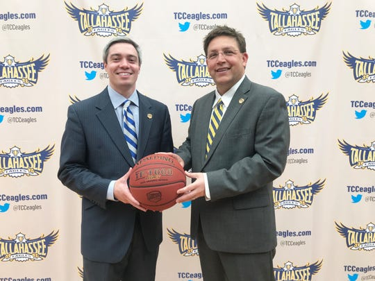 Zach Settembre (left) was officially announced by athletics director Rob Chaney as the fourth men's basketball coach in the history of Tallahassee Community College on Tuesday, April 2, 2019.