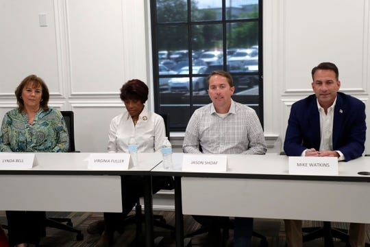 Florida House District Seven candidates left to right, Lynda Bell, Virginia Fuller, Jason Shoaf and Mike Watkins answer questions from the Tallahassee Democrat Editorial Board Tuesday, April 2, 2019.