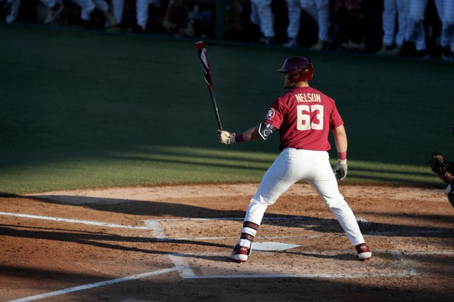 Florida State University's Matheu Nelson (63) takes the batting box during a game between FSU and Jacksonville University at Dick Howser Stadium Tuesday, April 2, 2019.
