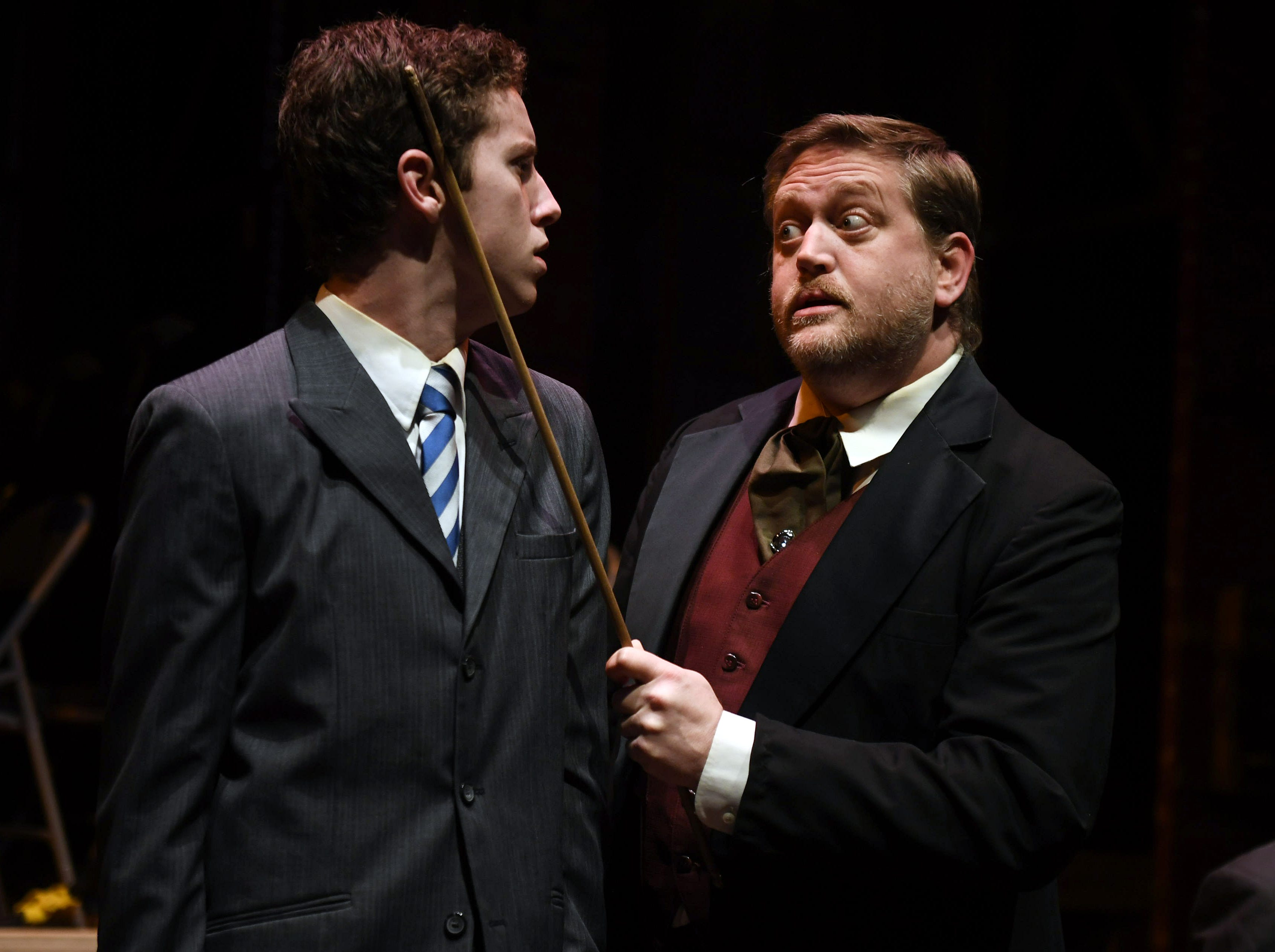 After questioning the rules of his society, Melchior (Spencer Lail) is reprimanded by Herr Sonnenstich (Krystof Kage).
