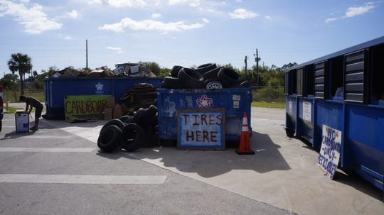 Tires are are collected at the landfill.