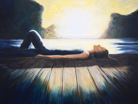 """Rest"" by Pamela Schwartz, who is best known for her thought-provoking work in exploring human emotion using acrylic and glazing techniques on canvas."