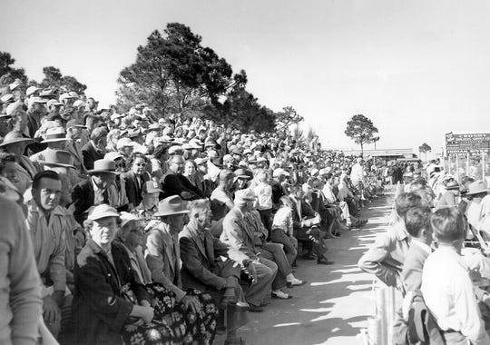 An overflow crowd jams the bleachers at Ebbets Field #2 for the Brooklyn Dodgers' first game in Vero Beach in the 1940s.