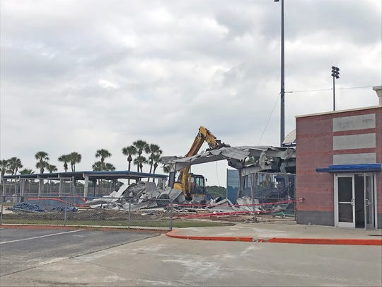 The batting cages at First Data Field were torn down Tuesday morning as part of the stadium's $57 million renovation.