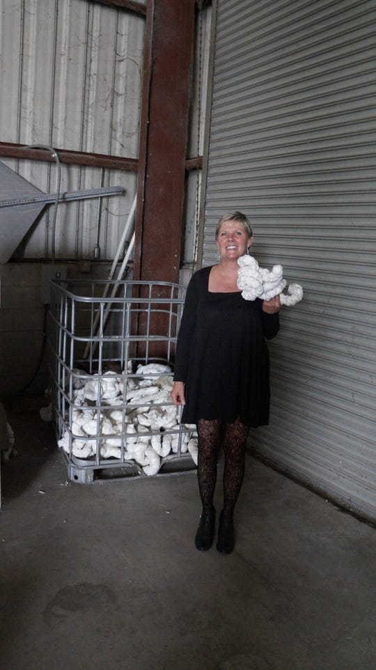 Education coordinator Sue Flak with some recycled Styrofoam.