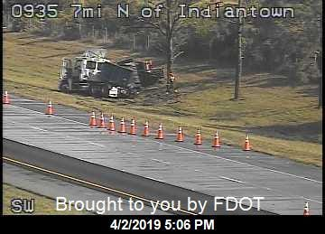 A tractor-trailer crash caused traffic to slow down on southbound Interstate 95 near Hobe Sound on Tuesday, April 2, 2019.