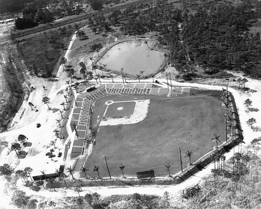 Holman Stadium is ready for its opening game in the 1950's.