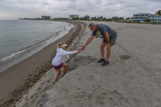 """Patty Schilling (left) gets help from her husband Roland while climbing the eroded dune as the couple from Nettles Island were out for a walk before coffee on Tuesday, April 2, 2019, at Fort Pierce Beach, just south of the Fort Pierce Inlet. """"It's unbelievable, it's the deepest cut into the ocean I've ever seen. It's really steep,"""" Patty Schilling said. """"It's amazing what the ocean can take away."""""""