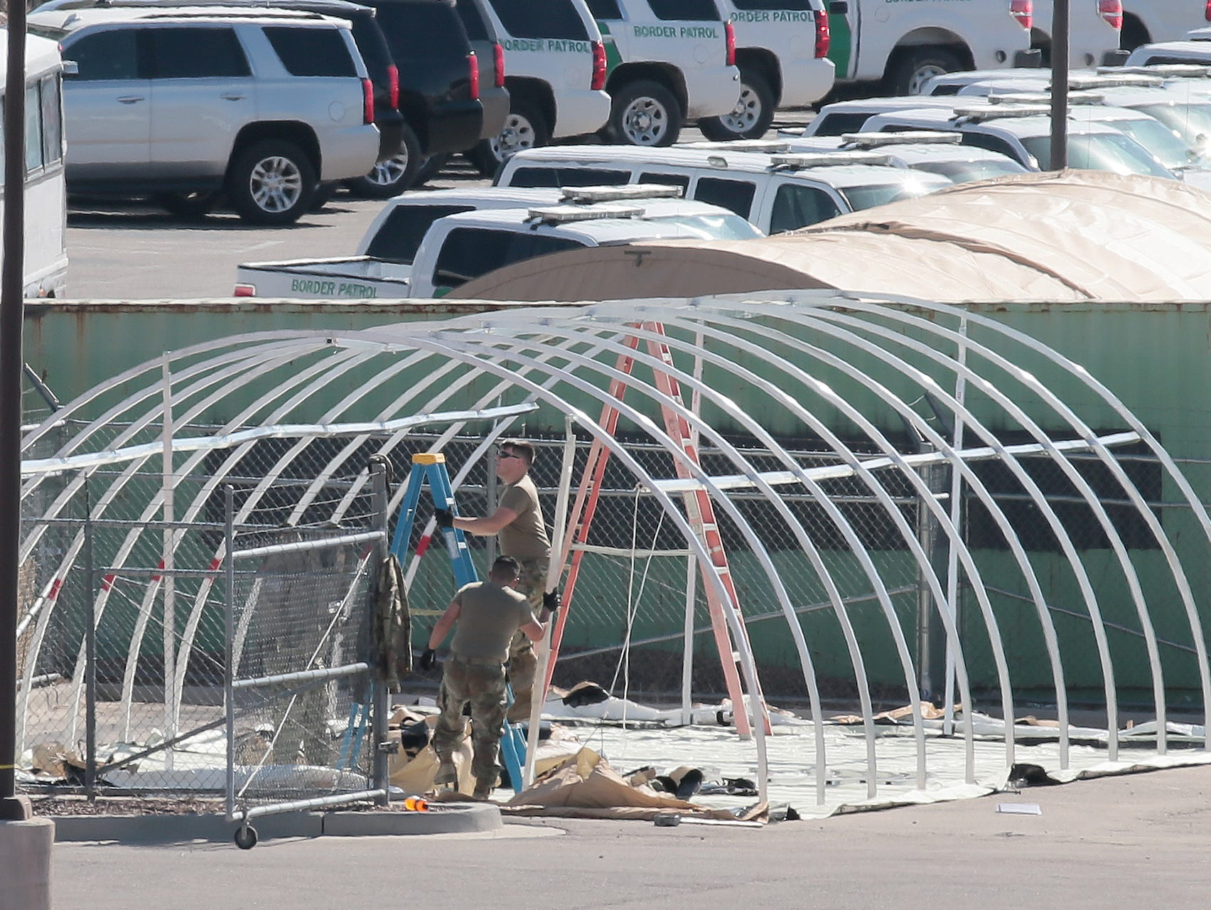 Tents are being constructed at the Border Patrol station at Hondo Pass and US54.