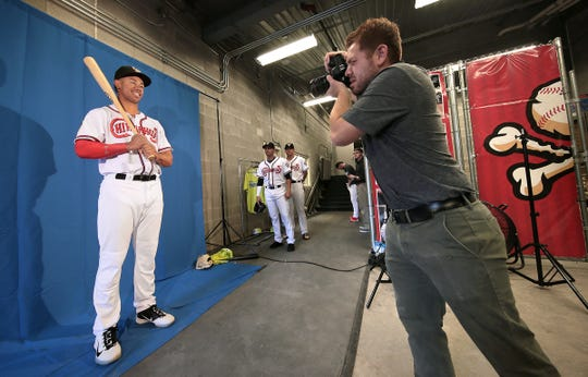 Mountain Star Sports photographer Ryan Ortegon takes photos of Chihuahuas' outfielder Jacob Scavuzzo during media day Tuesday at Southwest University Park. The Chihuahuas' season opens Thursday with a home game against the Las Vegas 51s.