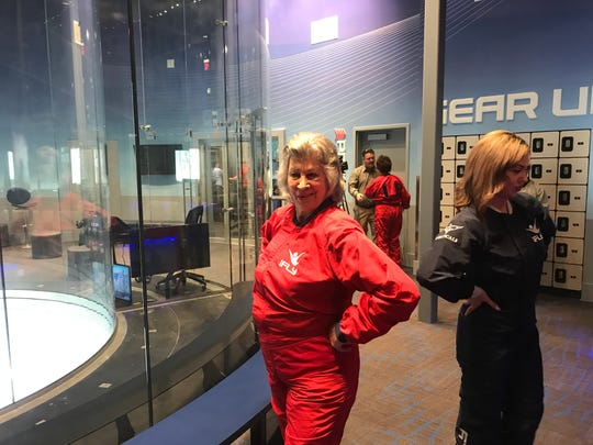 El Pasoan Karen Cowell, in her 70s, was the oldest flyer in the first group of people to try out iFly Indoor Skydiving Tuesday in El Paso.
