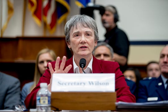 Secretary of the Air Force Heather Wilson speaks during a House Armed Services Committee budget hearing Tuesday for the Departments of the Army and Air Force on Capitol Hill in Washington. The UT System on Tuesday unanimously selected Wilson to lead UTEP.