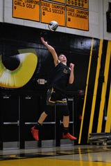Senior outside/hitterTim Eschenberg is part of a powerful Newbury Park boys volleyball team.