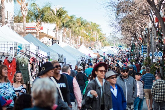 Crowds attended last year's Spring Wine Walk & Street Fair on Main Street in downtown Ventura. This year's event is April 6.