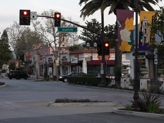 The intersection of Arneill Road and Ventura Boulevard in Old Town Camarillo. The city's crime rate declined 23% in 2018, an annual report shows.