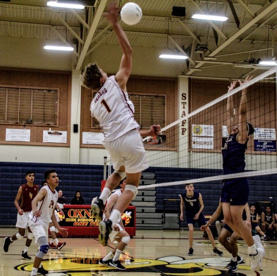 Wyatt Peterson is one of three big hitters for the Oxnard boys volleyball team, which is unbeaten in the Pacific View League.