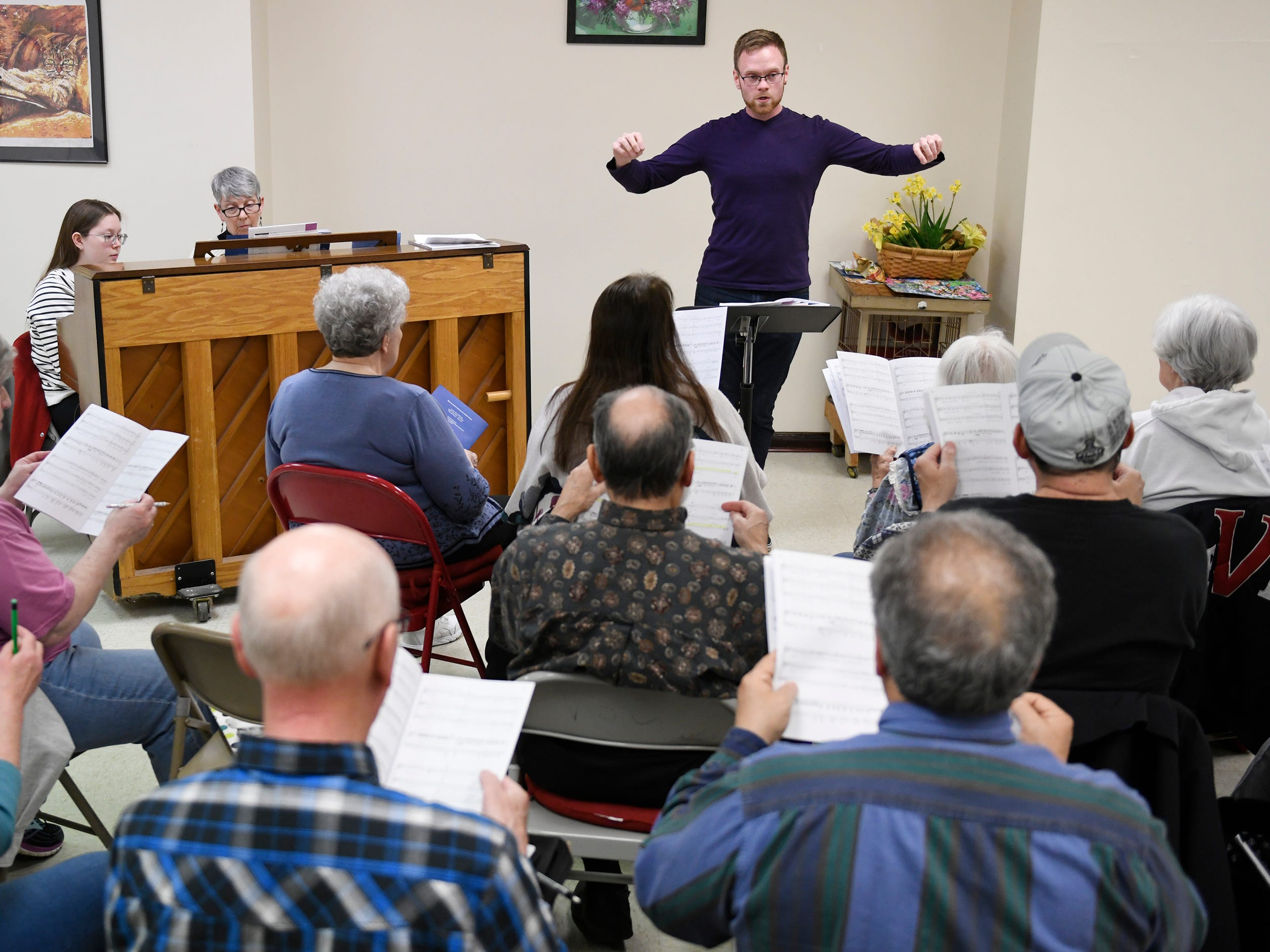 The Singing Ambassadors, under the direction of Kyle Sheppard, rehearse at the Vineland Senior Center on Monday, April 1, 2019.