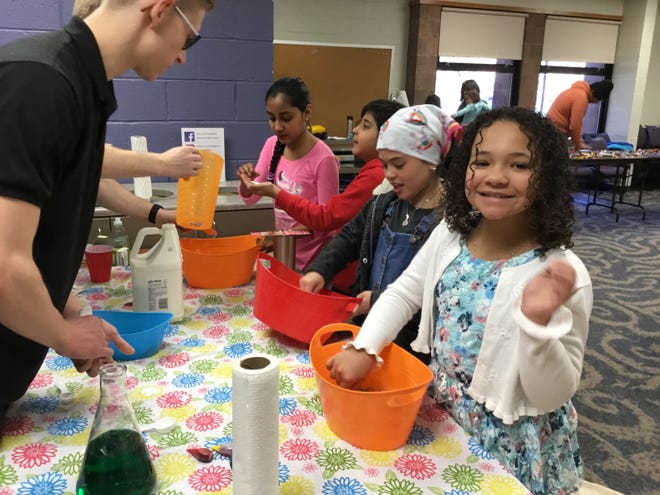 "Slime-making was on the agenda during a fun-filled ""Saturday STEM Sampler: A New Jersey Makers Day Event"" on March 23 at Vineland Public Library."