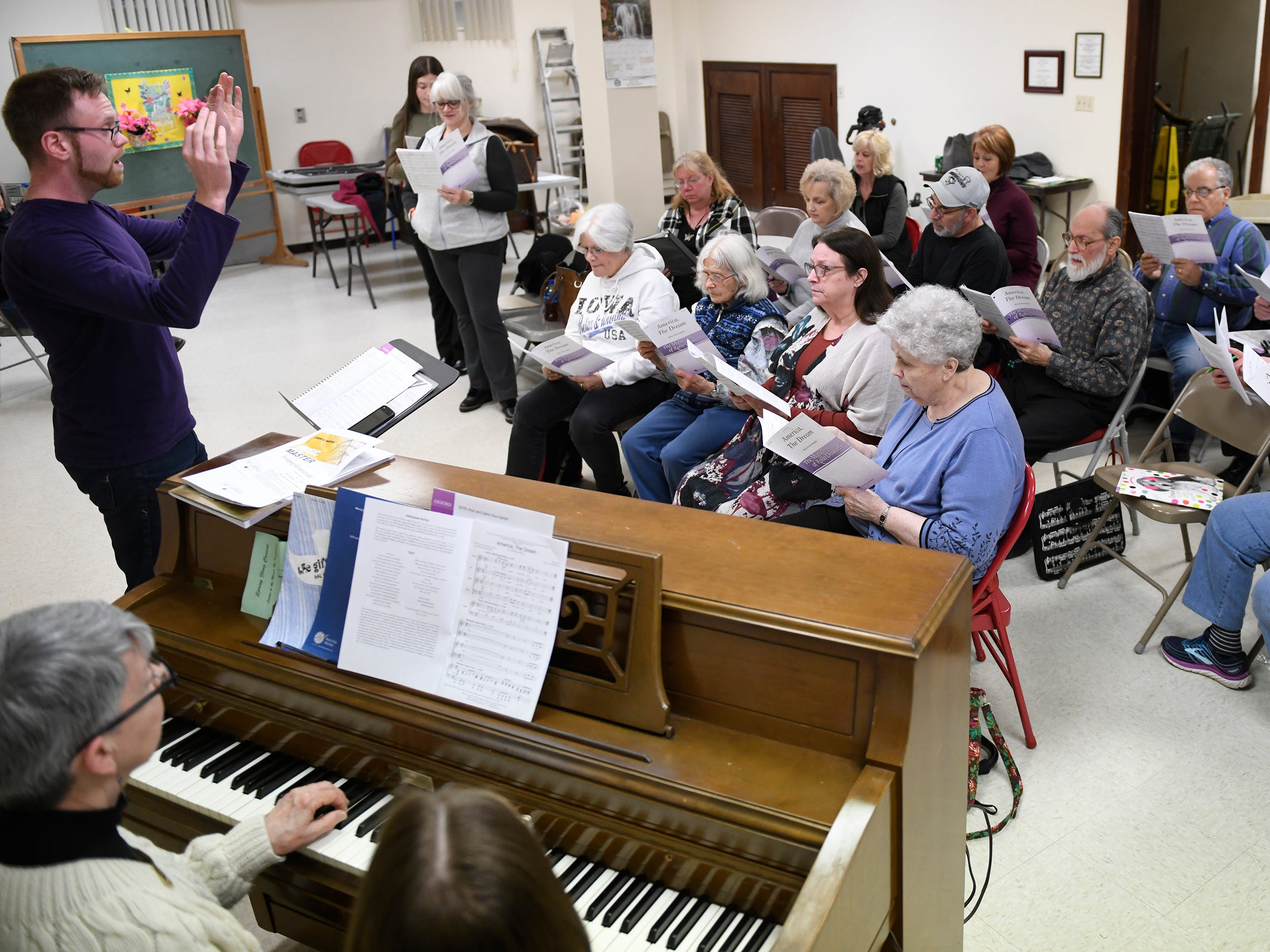 The Singing Ambassadors, under the direction of Kyle Sheppard, rehearse at the Vineland Senior Center. After 62 years of entertaining, the group is preparing for their final concert.