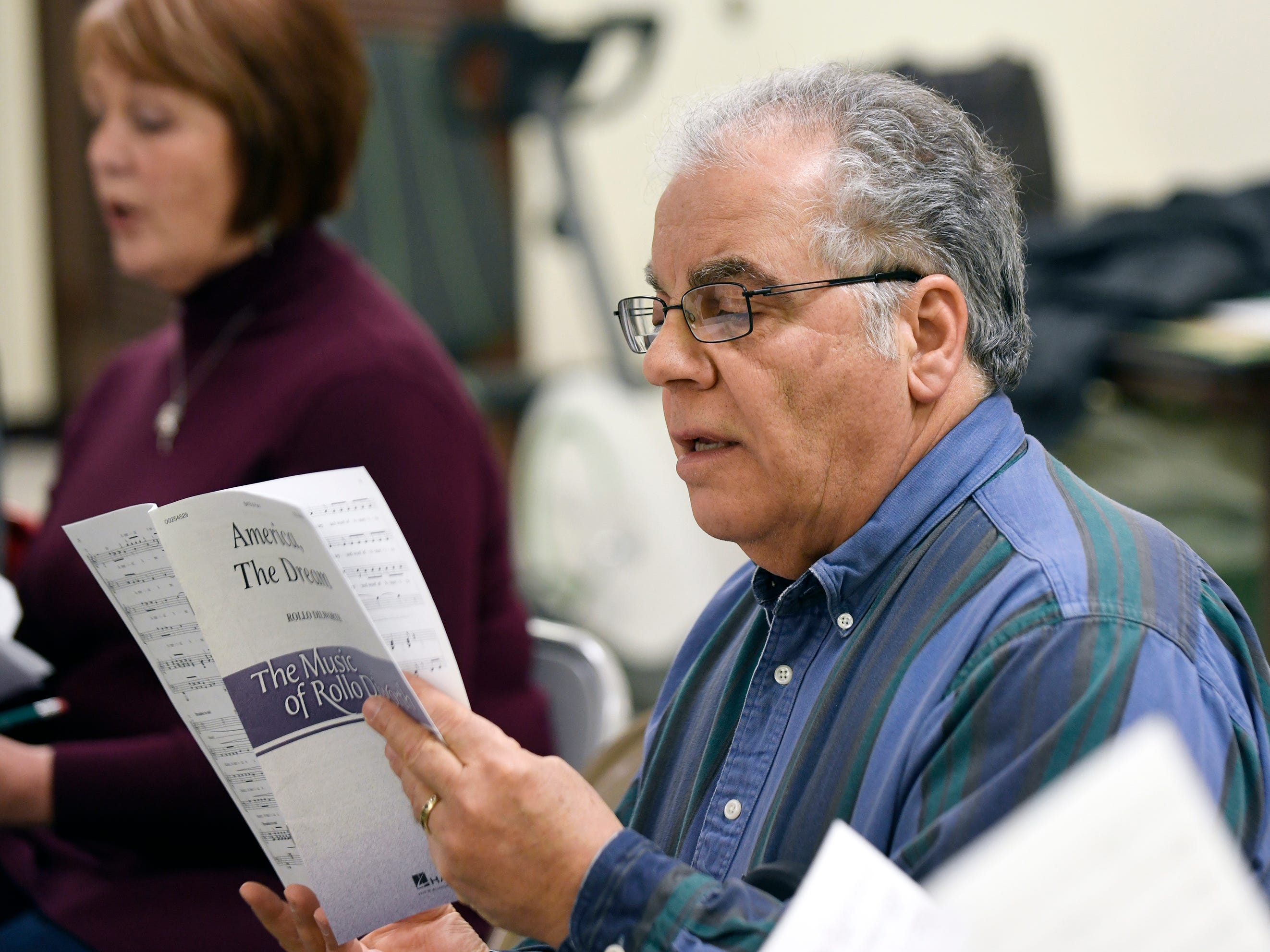 Members of the Singing Ambassadors rehearse at the Vineland Senior Center on Monday, April 1, 2019.