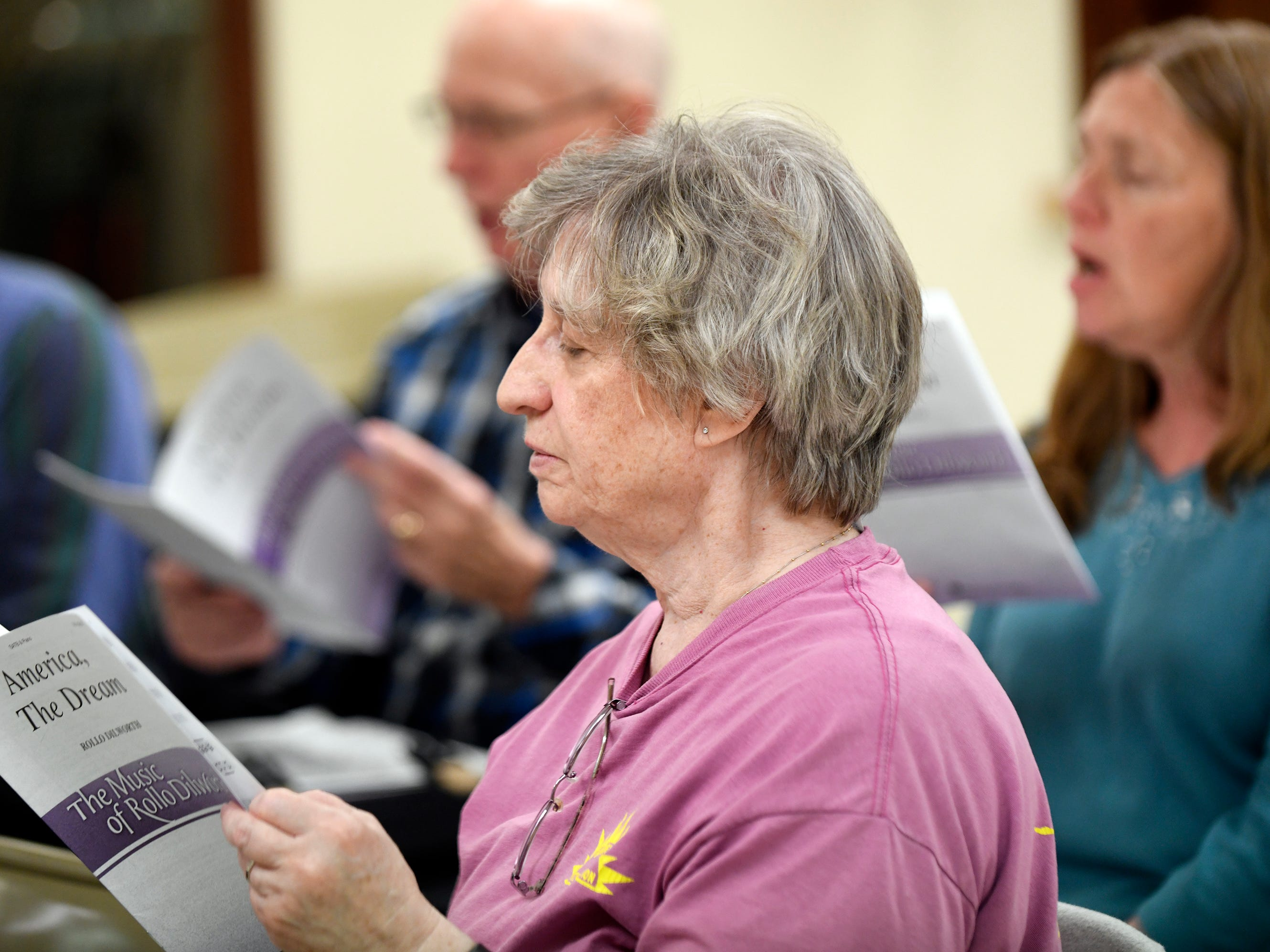 Cindy Paterno, a member of Vineland's Singing Ambassadors, sings during rehearsal at the Vineland Senior Center on Monday.