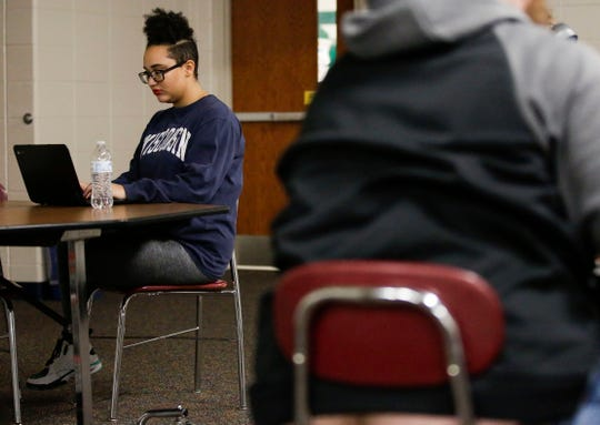 Adams-Friendship High School senior Ashley Jenkins, 17, studies on Tuesday, April 2, 2019, at Adams-Friendship High School in Adams, Wis. Jenkins is part of Safe School Ambassadors, an anti-bullying program that promotes bystander intervention.
