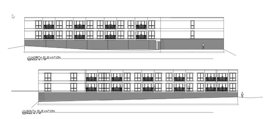 Blueprints for the proposed apartment complex at the old Mountain Lanes bowling alley site.