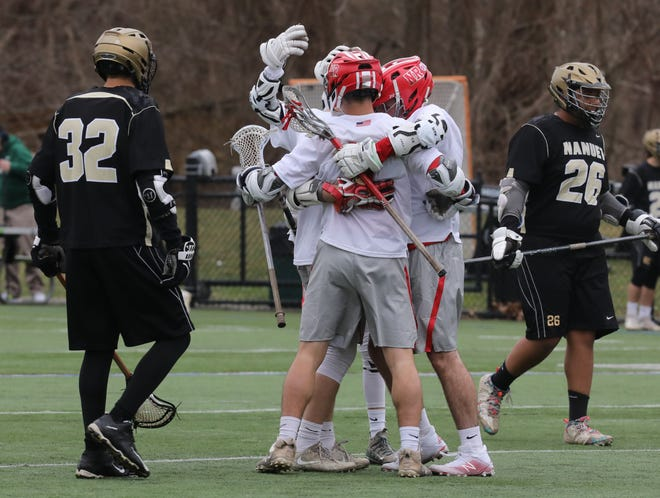 North Rockland's celebrates their tenth goal against Nanuet during boys lacrosse game at Torne Valley Complex in Hillburn April 2, 2019. North Rockland defeats Nanuet 10-2.