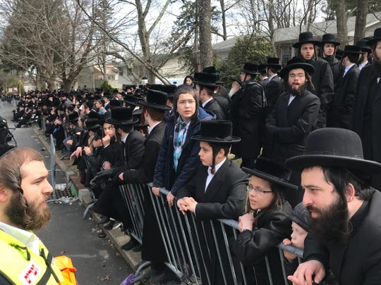 Large crowds gathered in Monsey today to mourn Yisroel Avrohom Portugal. April 2, 2019.