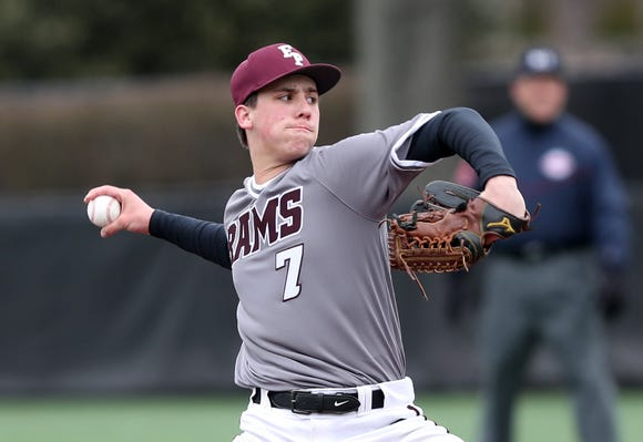 Fordham's Eric Yost pitching against Iona during baseball action at Fordham Prep in the Bronx April 2, 2019.