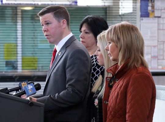 Orangetown Supervisor Chris Day, with from left, Town Clerk Rosanna Sfraga, his wife Jennifer, and his mother Jean, announced that he will not be seeking re-election during a press conference at town hall April 2, 2019.