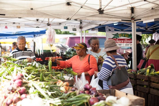 The Nyack farmers market attracts upwards of a thousand shoppers a day to its Thursday outdoor market.