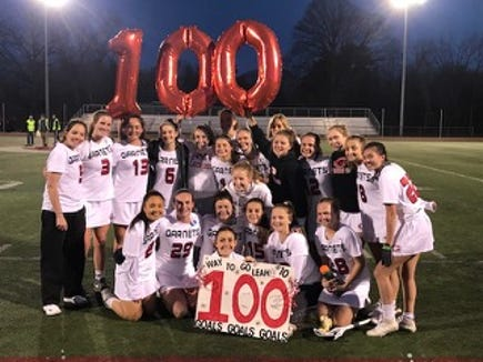 Leah Kenny with Rye teammates after she scored her 100th career varsity goal