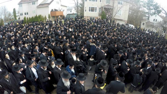 Funeral procession in Monsey for Yisroel Avrohom Portugal of Brooklyn April 2, 2019.