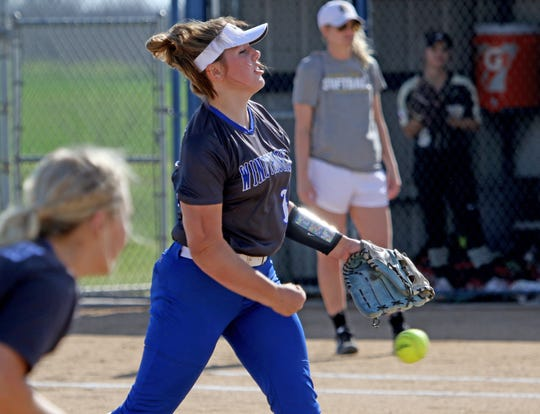 Windthorst's Laynie Brown pitches against Archer City Tuesday, March 2, 2019, in Windthorst.