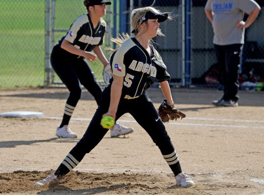 Archer City's Victoria Rater pitches against Windthorst Tuesday, March 2, 2019, in Windthorst.
