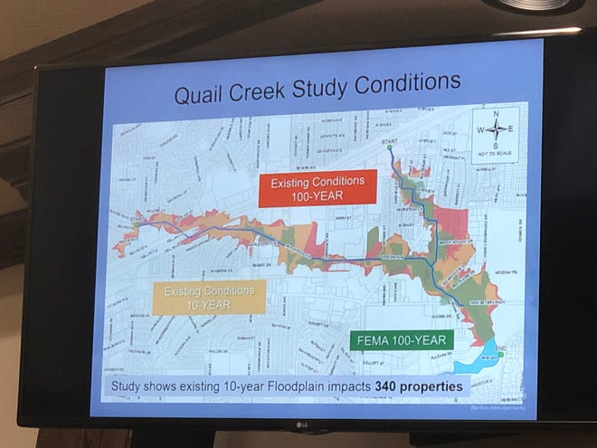 An updated map shows a 10-year flooding event could affect 340 properties in the Quail Creek area.