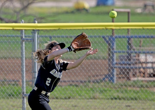 Archer City's Sam Clements catches the flyball against Windthorst Tuesday, March 2, 2019, in Windthorst.
