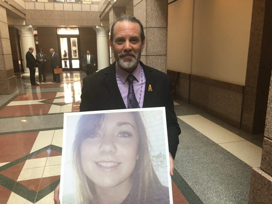 Vern Landavazo, whose 13-year-old daughter, Lauren, was fatally shot on Sept. 2, 2016, seen earlier this year when he spoke before the Texas Legislature this week in support of Lauren's Law.