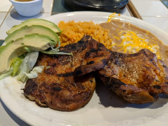 Chuletas al guajillo (pork chops) at Vaca Loca.