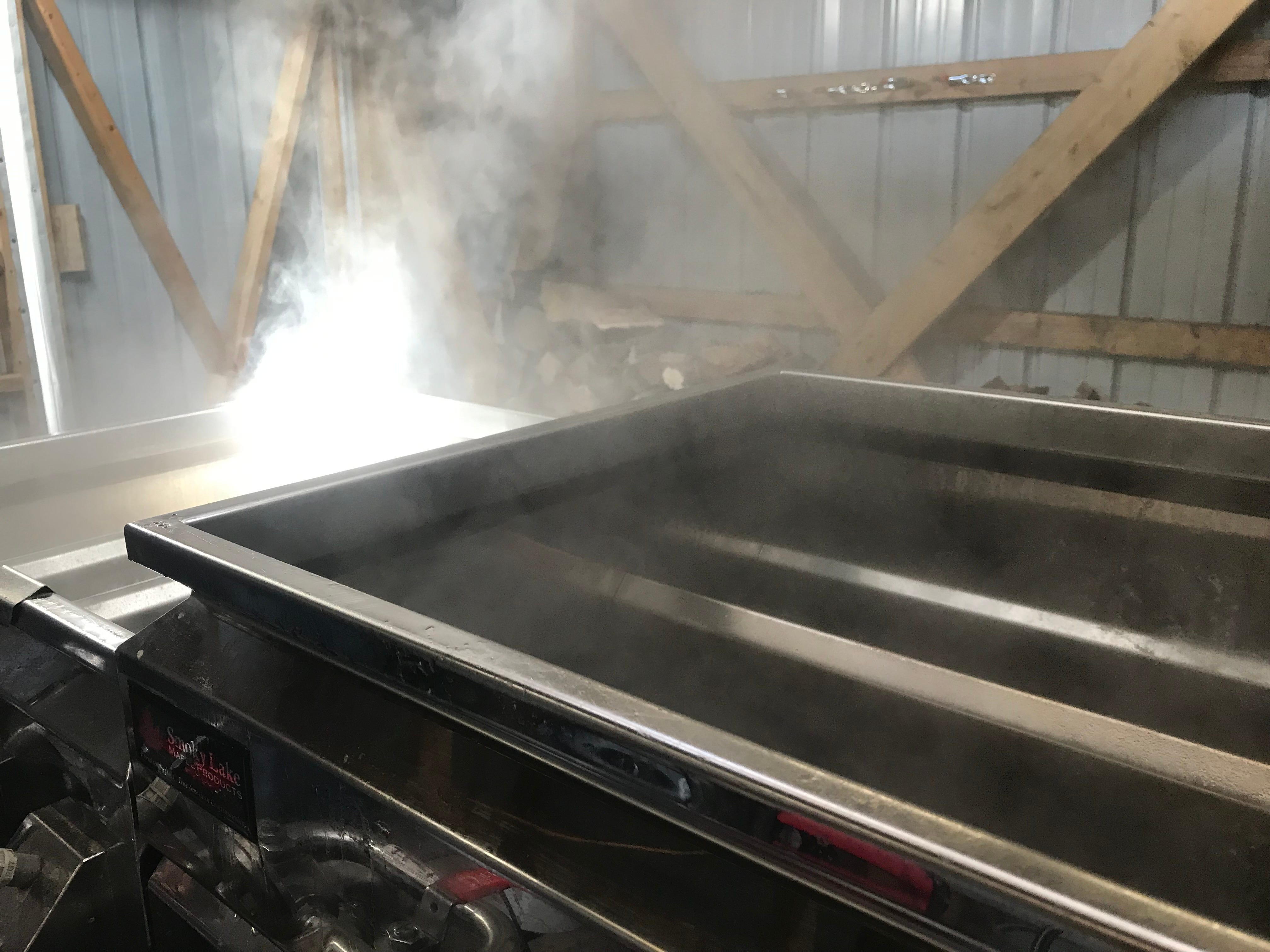 Maple producers boil sap to reduce water content and leave behind natural sugars.