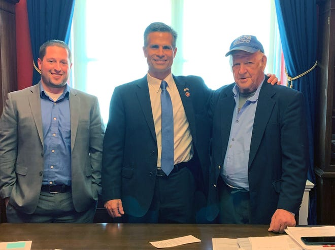 Congressman Dan Meuser (PA) center, meets with on left: Brandon Tewksbury, on right: Arden Tewksbury to discuss HR 832, the House bill to allow whole milk in schools, on Tuesday, March 26, 2019 in Washington.