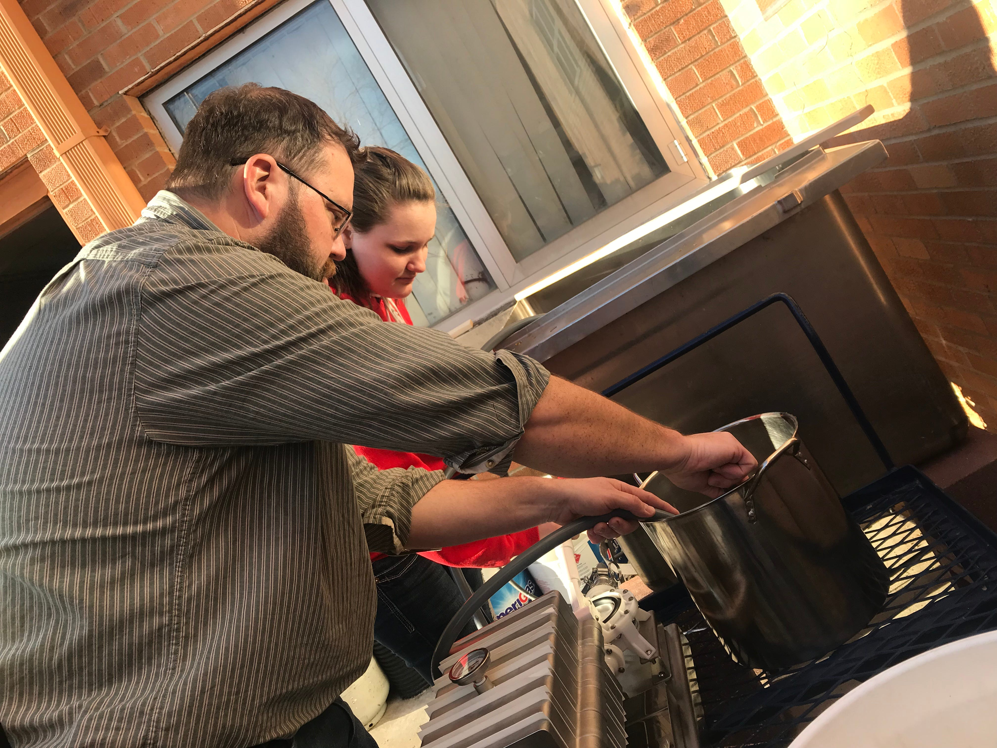 Albany Agriculture Educator Jamie Rupp teaches students the art of making real Wisconsin maple syrup.
