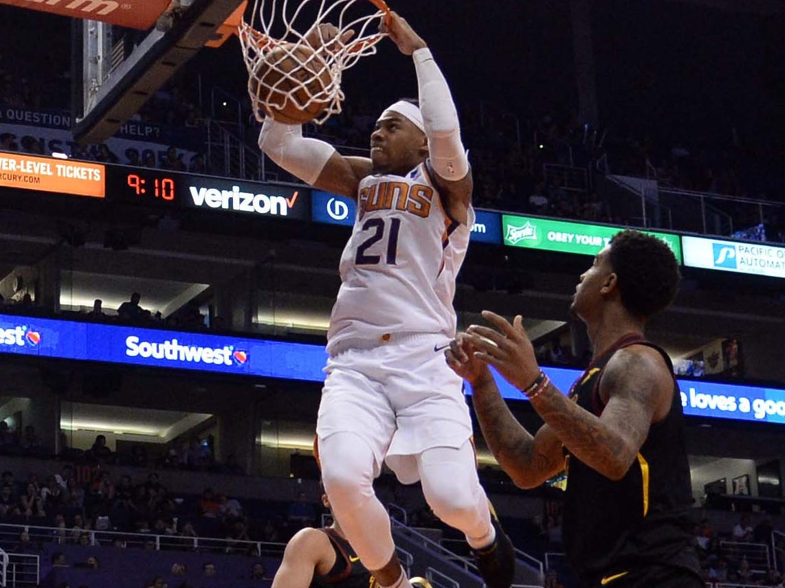 April 1: Suns forward Richaun Holmes gets up for the two-handed flush against the Cavaliers.