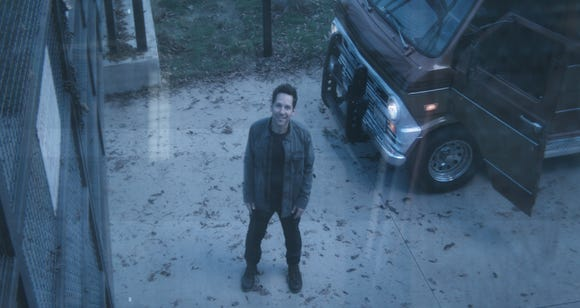 "Ant-Man (Paul Rudd) tries to figure some stuff out when he emerges from the Quantum Realm and the world's gone kablooey in ""Avengers: Endgame."""