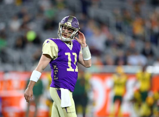Atlanta Legends quarterback Aaron Murray (11) reacts against the Arizona Hotshots during an AAF football game at Sun Devil Stadium