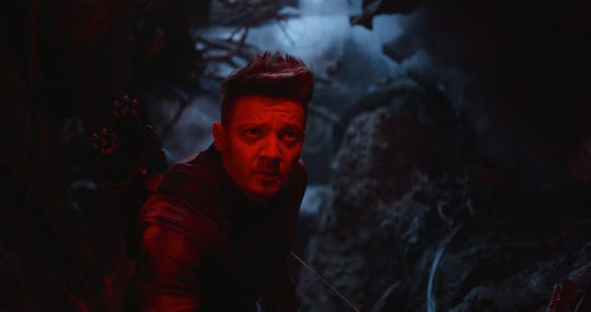 "By the looks of his haircut and outfit, Hawkeye (Jeremy Renner) is in a dark place in ""Avengers: Endgame."""
