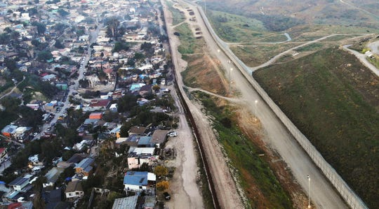 An aerial view of the U.S.-Mexico border barrier on April 2, 2019 in Tijuana, Mexico.